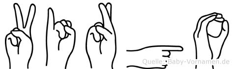 Virgo im Fingeralphabet der Deutschen Gebärdensprache