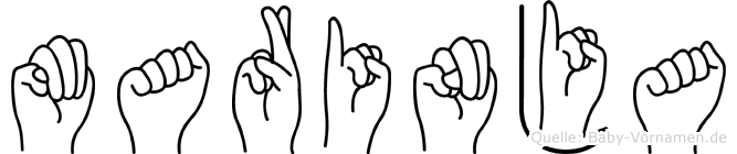 Marinja im Fingeralphabet der Deutschen Gebärdensprache
