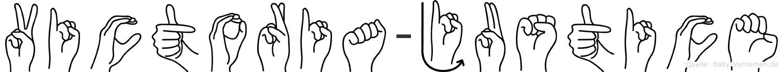 Victoria-Justice im Fingeralphabet der Deutschen Gebärdensprache
