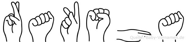 Raksha im Fingeralphabet der Deutschen Gebärdensprache