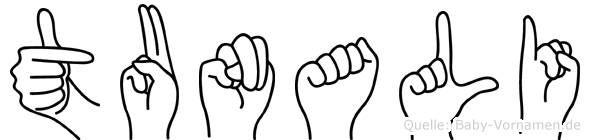 Tunali im Fingeralphabet der Deutschen Gebärdensprache