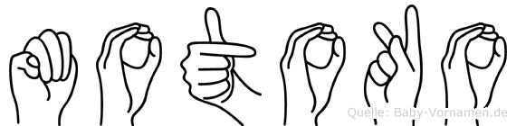 Motoko im Fingeralphabet der Deutschen Gebärdensprache