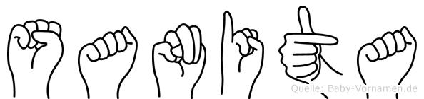Sanita im Fingeralphabet der Deutschen Gebärdensprache