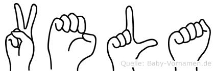 Vela im Fingeralphabet der Deutschen Gebärdensprache