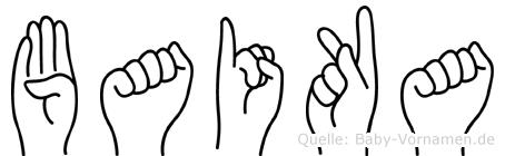Baika im Fingeralphabet der Deutschen Gebärdensprache
