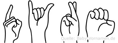 Dyre im Fingeralphabet der Deutschen Gebärdensprache