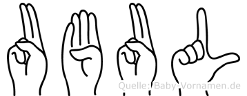Ubul im Fingeralphabet der Deutschen Gebärdensprache
