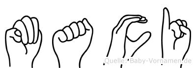 Maci im Fingeralphabet der Deutschen Gebärdensprache