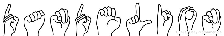 Dandelion im Fingeralphabet der Deutschen Gebärdensprache