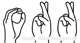 Orr im Fingeralphabet der Deutschen Gebärdensprache