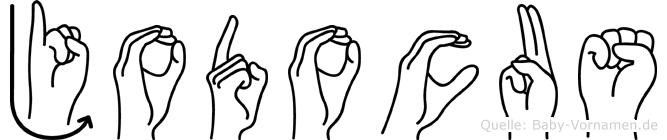 Jodocus im Fingeralphabet der Deutschen Gebärdensprache