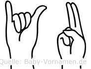 Yu in Fingersprache für Gehörlose
