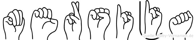 Mersija im Fingeralphabet der Deutschen Gebärdensprache