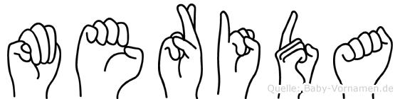 Merida im Fingeralphabet der Deutschen Gebärdensprache