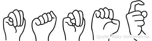Manex im Fingeralphabet der Deutschen Gebärdensprache