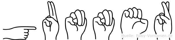Gunner in Fingersprache für Gehörlose