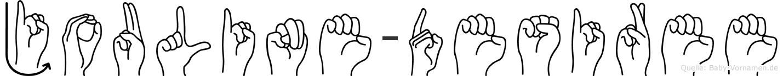 Jouline-Desiree im Fingeralphabet der Deutschen Gebärdensprache