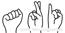 Ari im Fingeralphabet der Deutschen Gebärdensprache