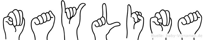 Maylina im Fingeralphabet der Deutschen Gebärdensprache