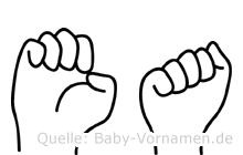 Ea in Fingersprache für Gehörlose
