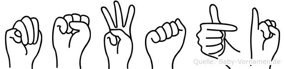 Mswati im Fingeralphabet der Deutschen Gebärdensprache