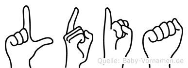 Lüdia im Fingeralphabet der Deutschen Gebärdensprache