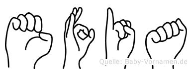 Efia in Fingersprache für Gehörlose