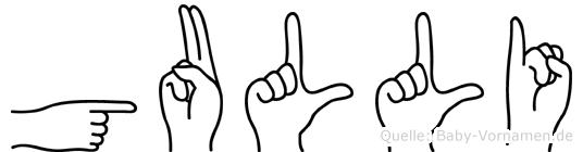 Gulli im Fingeralphabet der Deutschen Gebärdensprache