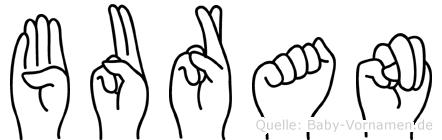 Buran im Fingeralphabet der Deutschen Gebärdensprache