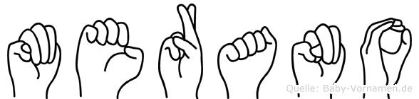 Merano im Fingeralphabet der Deutschen Gebärdensprache