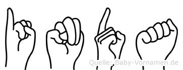 Inda im Fingeralphabet der Deutschen Gebärdensprache