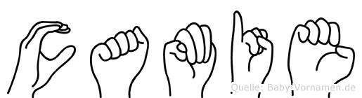 Camie im Fingeralphabet der Deutschen Gebärdensprache