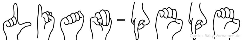 Lian-Pepe im Fingeralphabet der Deutschen Gebärdensprache