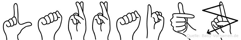 Larraitz im Fingeralphabet der Deutschen Gebärdensprache