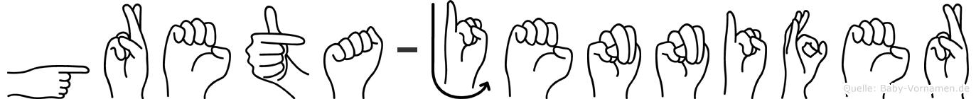 Greta-Jennifer im Fingeralphabet der Deutschen Gebärdensprache