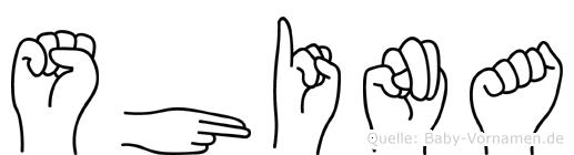 Shina im Fingeralphabet der Deutschen Gebärdensprache