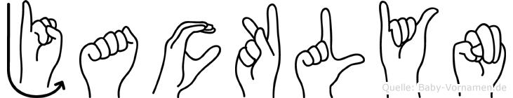 Jacklyn im Fingeralphabet der Deutschen Gebärdensprache