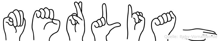 Merliah im Fingeralphabet der Deutschen Gebärdensprache