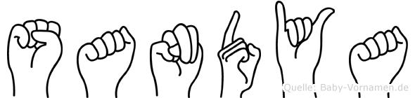 Sandya im Fingeralphabet der Deutschen Gebärdensprache