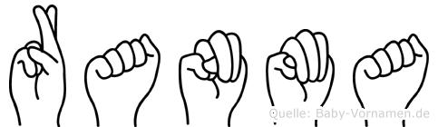 Ranma im Fingeralphabet der Deutschen Gebärdensprache