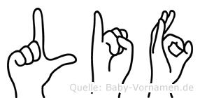 Lif im Fingeralphabet der Deutschen Gebärdensprache