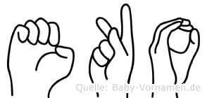 Eko im Fingeralphabet der Deutschen Gebärdensprache
