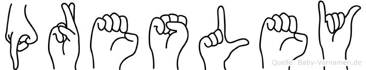 Presley im Fingeralphabet der Deutschen Gebärdensprache
