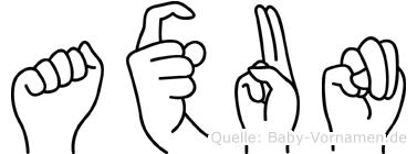 Axun in Fingersprache für Gehörlose