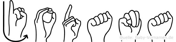 Jodana im Fingeralphabet der Deutschen Gebärdensprache