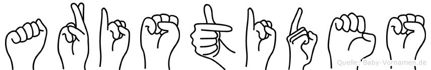 Aristides im Fingeralphabet der Deutschen Gebärdensprache