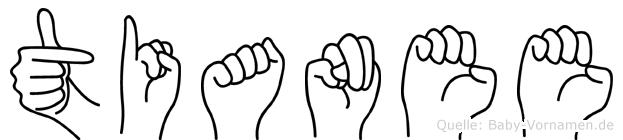 Tianee im Fingeralphabet der Deutschen Gebärdensprache
