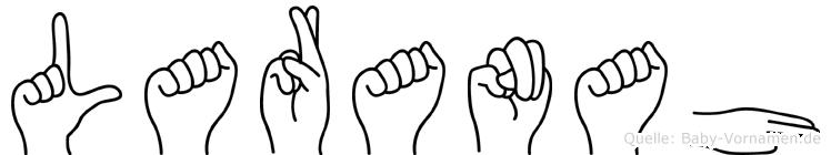 Laranah im Fingeralphabet der Deutschen Gebärdensprache
