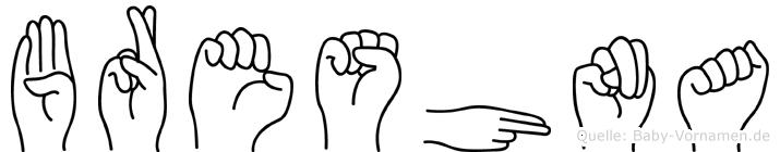 Breshna im Fingeralphabet der Deutschen Gebärdensprache