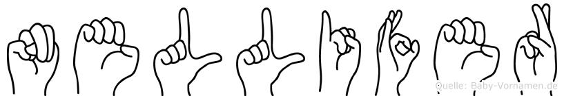 Nellifer im Fingeralphabet der Deutschen Gebärdensprache